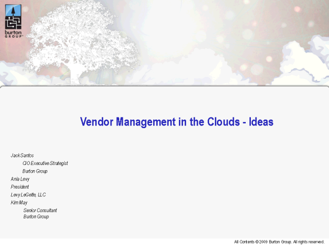 Vendor Management in the Clouds - Ideas for Any Economic Climate