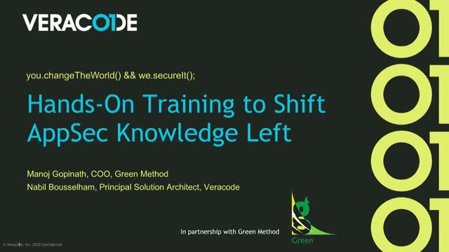 Hands-On Training to Shift AppSec Knowledge Left - Green Method & Veracode