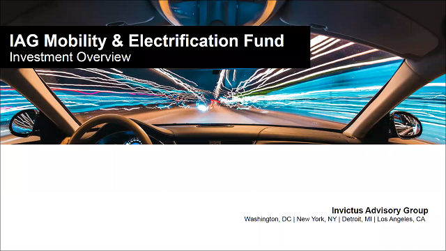 IAG Mobility Fund – Taking the Electric Vehicle Market by Storm