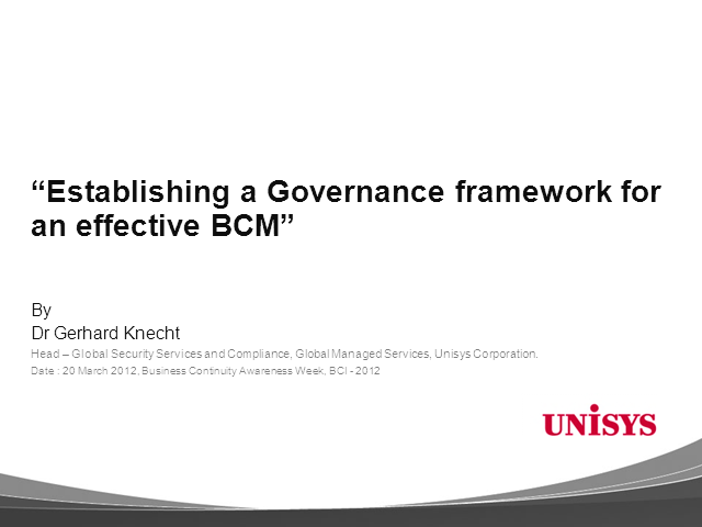 Establishing a Governance framework for an effective BCM