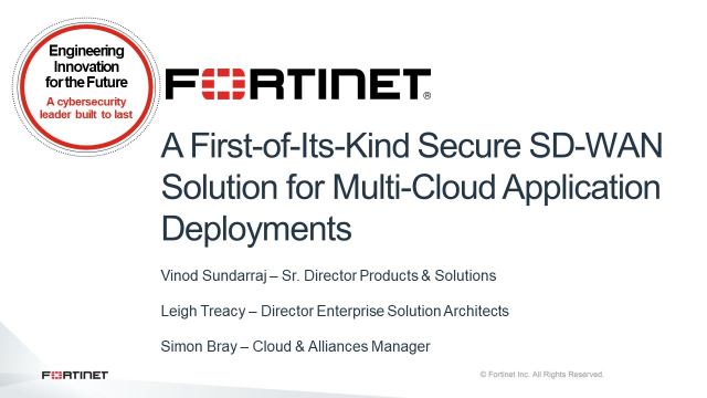 First-of-Its-Kind Secure SD-WAN Solution for Multi-Cloud Application Deployments
