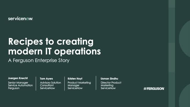 Recipes to creating modern IT operations