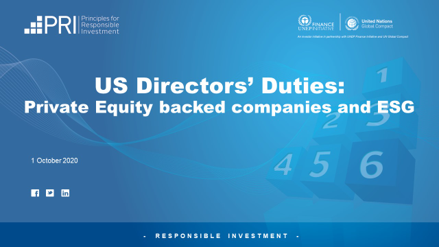 US Directors' Duties: Private Equity backed companies and ESG