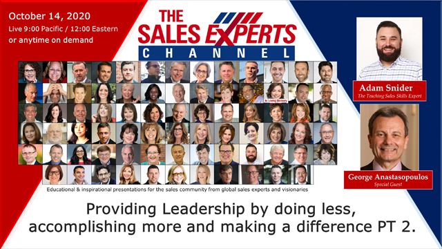 Providing Leadership-doing less, accomplishing more & making a difference PT 2