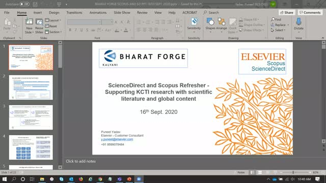 Scopus and ScienceDirect Refresher Session - Only for Bharat Forge / KCTI