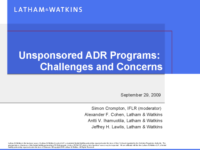 Unsponsored ADR programmes: Challenges and Concerns