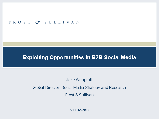 Exploiting Opportunities in B2B Social Media