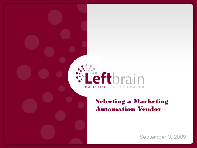 A Match Maker for Marketing Automation: Finding the Right Vendor