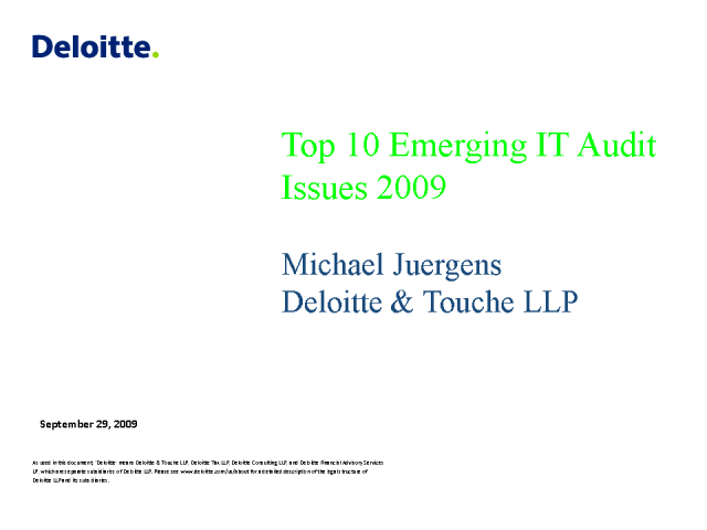 Top 10 Emerging IT Audit Issues