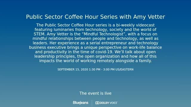 Public Sector Coffee Hour - Amy Vetter