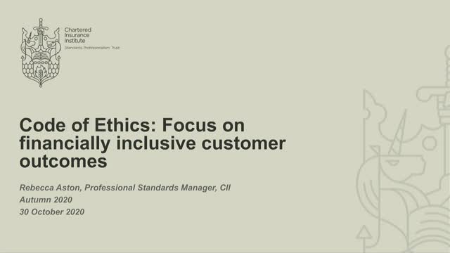 Code of Ethics: Focus on financially inclusive customer outcomes