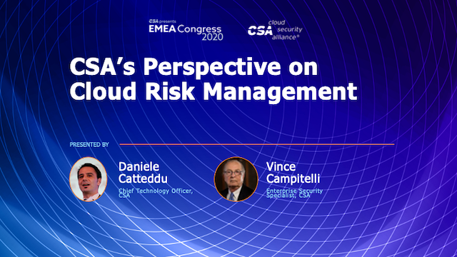 CSA's Perspective on Cloud Risk Management