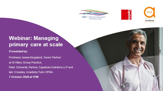 Managing primary care at scale – how to manage effectively at network level