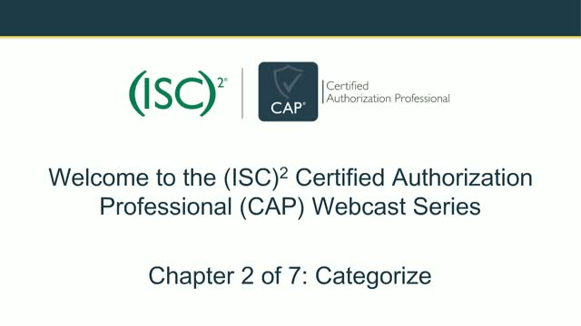 CAP Webcast Series: Categorization of Information Systems