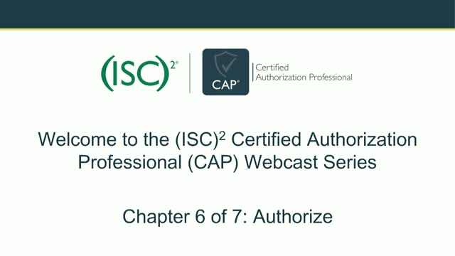 CAP Webcast Series: Authorization of Information Systems