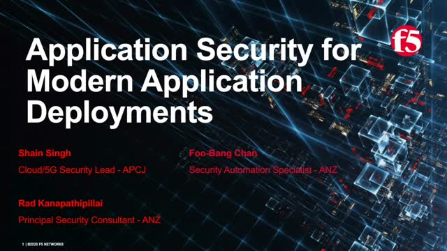 Application Security for Modern Application Deployments