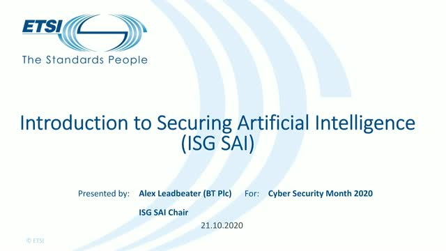 Introduction to Secure Artificial Intelligence (ISG SAI).