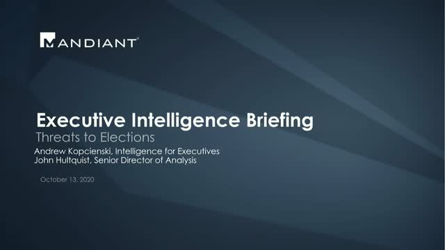 Executive Intelligence Briefing 10/13