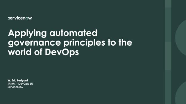 Applying automated governance principles to the world of DevOps