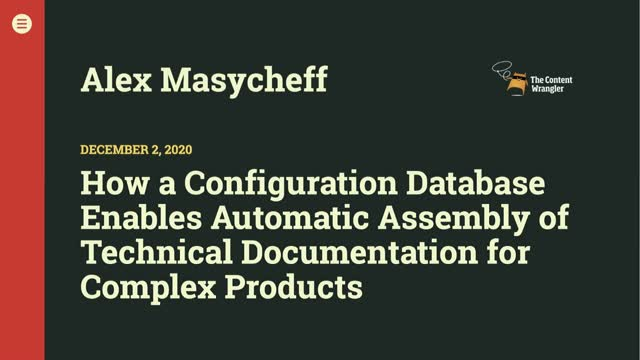 Configuration Database Enables Automatic Assembly of Technical Documentation