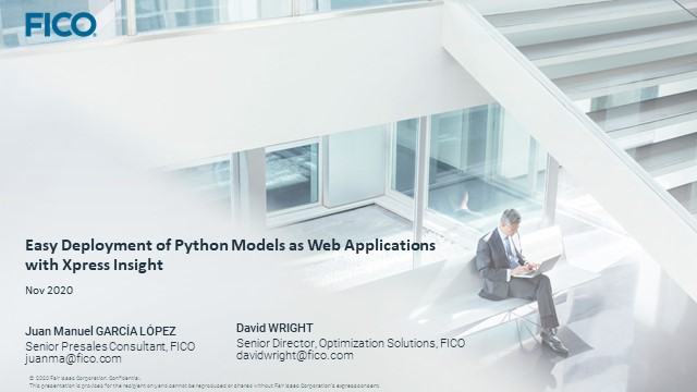 Easy Deployment of Python Analytic Model as Web Applications with Xpress Insight
