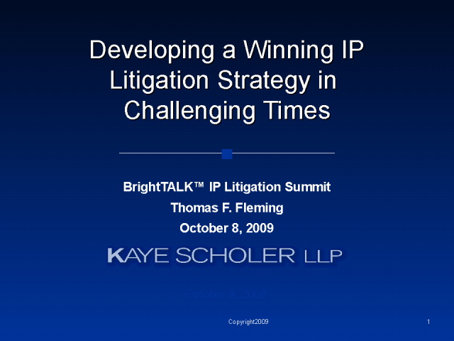 Developing a Winning IP Litigation Strategy in Challenging Times