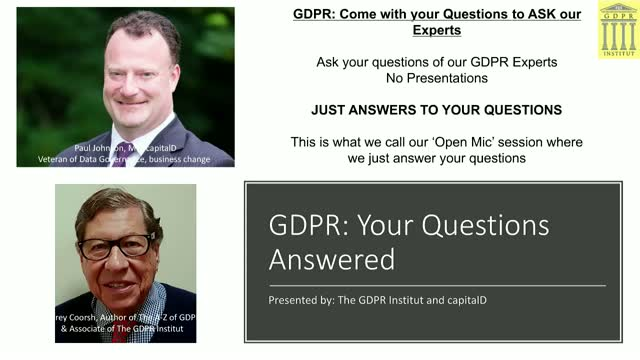 GDPR 1 LIVE!: Your Actual Questions Answered