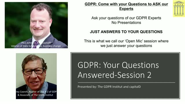 GDPR 2 LIVE!: Your Actual Questions Answered