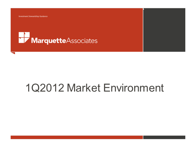 1Q 2012 Market Environment Briefing Webinar