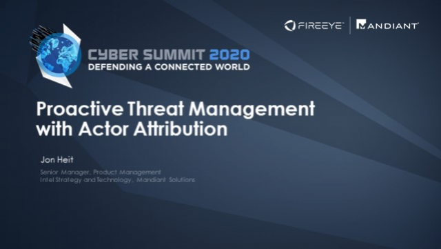 Proactive Threat Management with Actor Attribution