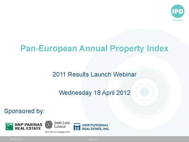 IPD Pan-European Annual Property Index webinar