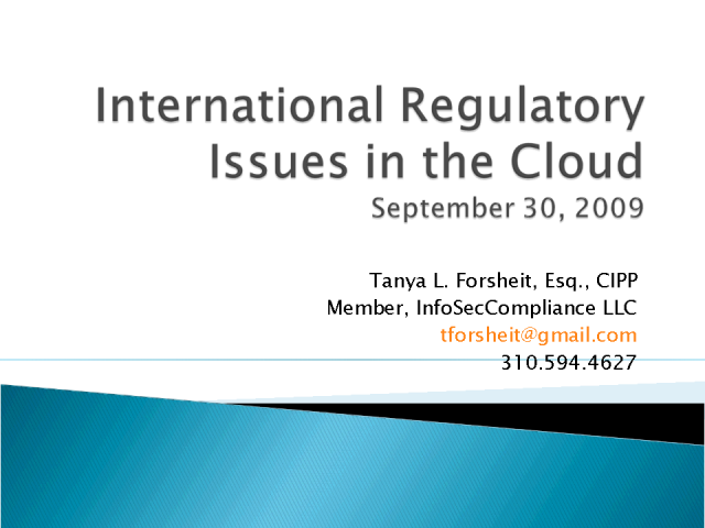 International Regulatory Issues in the Cloud