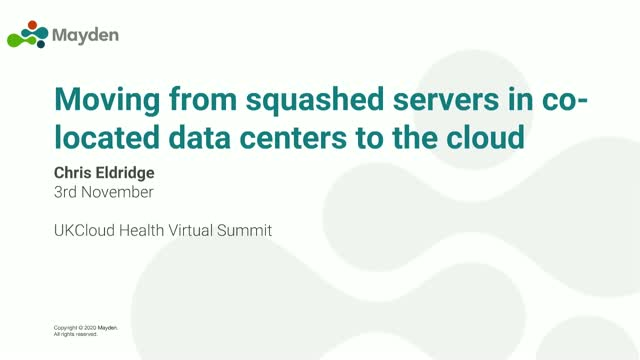 Moving from squashed servers in co-located data centers to the cloud