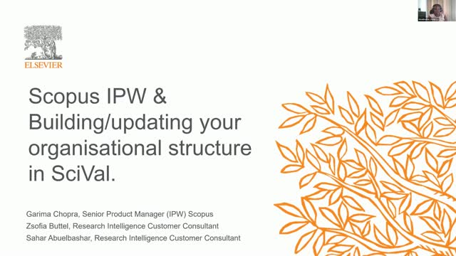 #SciValFest2020 - Scopus IPW & working with your org structure in SciVal