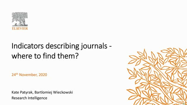Indicators describing journals - where to find them?