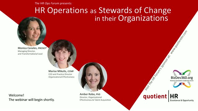 HR Operations as Stewards of Change in their Organizations