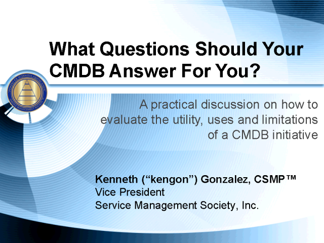 What Questions Should Your CMDB Answer For You?