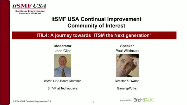 ITIL4: A journey towards 'ITSM the Next generation