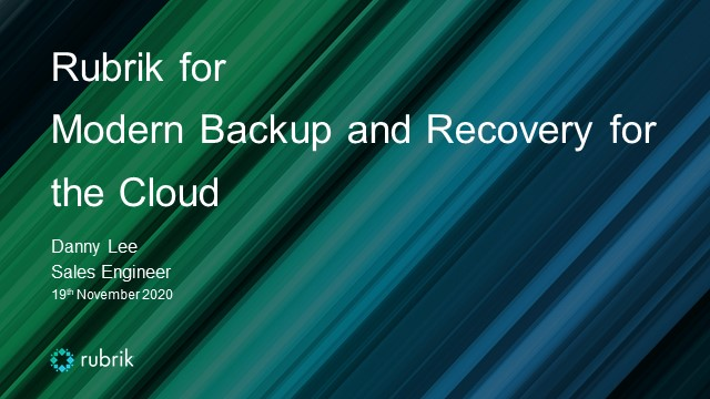 Technical Thursday : Modern Backup and Recovery for the Cloud