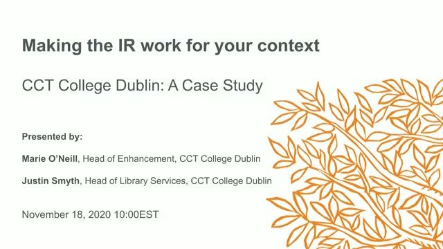 Making the IR Work for your Context, CCT College Dublin: A Case Study