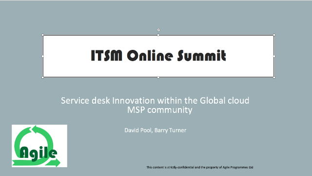 Service desk Innovation within the Global cloud MSP community