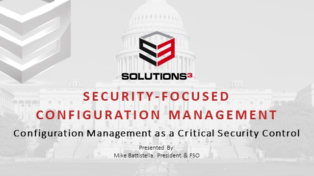 Security-Focused Configuration Management
