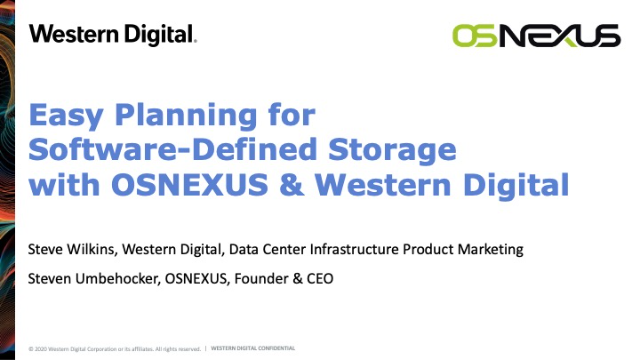Easy Planning for Software-Defined Storage with OSNEXUS and Western Digital