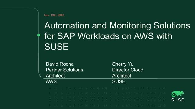 Automation and Monitoring Solutions for SAP Workloads on the AWS Cloud with SUSE