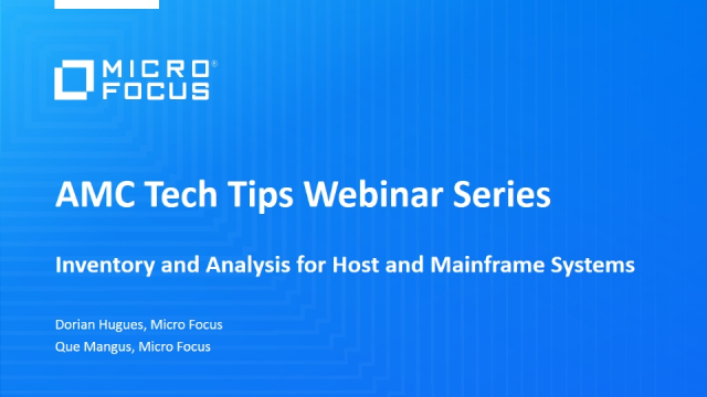 Tech Tip: Inventory and Analysis for Host and Mainframe Systems