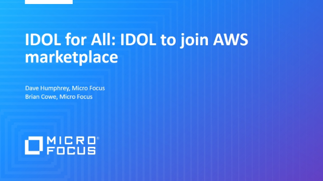 IDOL for All: IDOL to join AWS marketplace