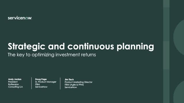 Strategic and continuous planning—the only way to plan