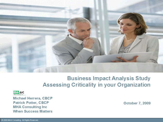 The BIA Study–Identify What is Critical to Your Company