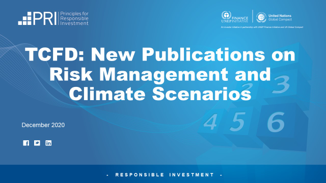 TCFD: New Publications on Risk Management and Climate Scenarios