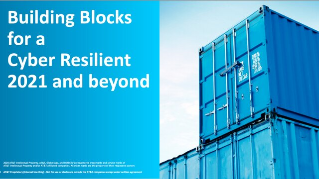 Building Blocks for a Cyber Resilient 2021 and beyond